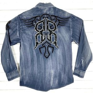 Roar Signature Men's L/S Embroidered Shirt Blue